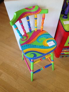 42 Outstanding Diy Painted Chair Designs Ideas To Try 42 Outstanding Diy Painted Chair Designs Ideas To Try blathnaidsandi blathnaidsandi Room Decor Boho Funky painted furniture Painted chair Painted nbsp hellip furniture kids Hand Painted Chairs, Whimsical Painted Furniture, Hand Painted Furniture, Funky Furniture, Paint Furniture, Furniture Projects, Kids Furniture, Furniture Makeover, Diy Projects