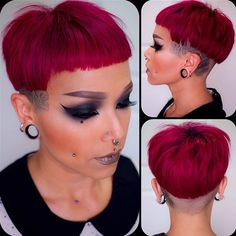 New haircut by Feels amazing to remove the hair from my neck. Always been a short haired girl. Hair color is Punky Color Rose… Super Short Hair, Short Hair Cuts, Short Hair Styles, Short Pixie, Pixie Cut, Buzzed Hair Women, Bowl Haircuts, Asymmetrical Hairstyles, Great Hairstyles