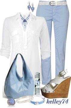 Crisp white shirting blouse by Splendid, Ice blue denim hobo bag by Nordstrom, 1928 Antiquities Couture Moonlit Sapphire Crystal Drop Necklace, Madison Harding Gerald whipped stitched platform.
