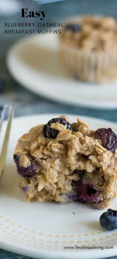 These delicious blueberry oatmeal muffins are a delicious breakfast or snack. Gluten free, dairy free and refined sugar free blueberry oatmeal muffins. How to make oatmeal muffins. Easy gluten free oatmeal muffins. Recipe at www.fearlessdining.com #oatmealmuffins #blueberryoatmealmuffins #breakfastmuffins #glutenfree #dairyfree #refinedsugarfree via @fearlessdining
