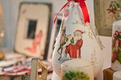 christmas handmade gifts #decoupage #candle #xmas Handmade Christmas, Snow Globes, Decoupage, Xmas, Candles, Handmade Gifts, Home Decor, Kid Craft Gifts, Decoration Home