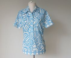 Vintage Blue Mod Short Sleeve Shirt Small by hipandvintage on Etsy