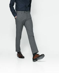 Grey Trousers!   ZARA - MAN - TROUSERS WITH CONTRASTING PIPING