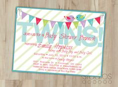 diy baby shower invites templates FOR TWIN GIRLS   DIY Baby Shower Invitation -- Twins -- Aqua Birds