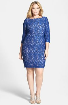 Adrianna Papell Lace Overlay Sheath Dress (Plus Size) | Nordstrom
