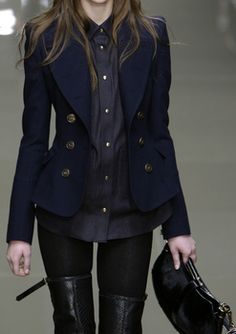Burberry - properly fitted blazer + stockings and thigh high boots