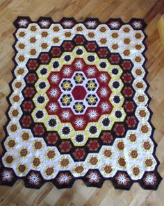 CROCHET THROW  handmade afghan pieced hexagon throw by GlyndasVintageshop on Etsy