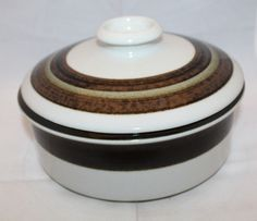 "Arabia Finland Karelia Vegetable Covered Casserole 23cm 9"" Lid Vintage MCM Brown #ArabiaFinland"