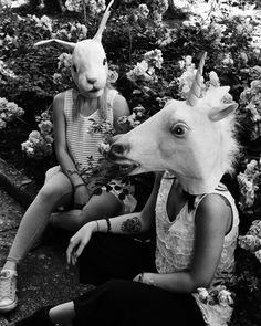Alternative Friends #alternative #friends #tumblr #giorgiacinelli #blackandwhite #unicornmask #rabbitmask #masks #animals #grunge