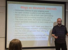 """Should academics blog about their research? . This presentation was inspirational and gave a clear picture of how sharing by blogging helps the researcher clarify ideas, do something with those homeless pieces of writing and be a living archive of your work."" @Mark_Carrigan."