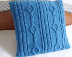 Custom Cable Knit Cushion Cover Navy Blue Pillow CaseThrow