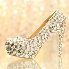 72.10$  Buy now - http://alila0.worldwells.pw/go.php?t=1702039679 - Thickening platform high-heeled wedding shoes heavy rhinestone white princess crystal shoes bridal anti-slip pumps (heel 12cm) 72.10$