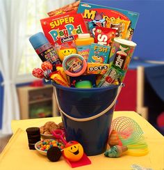 Our Fun in The Sun Pail is just what they need to have a fun filled day indoors or out We've included an array of tasty treats because they're sure to be hungry when they done having all that fun. The Fun in the Sun Gift Pail includes: Plastic sand pail, sand shovel, relaxable smiley face ball, crazy string, floam, kids card game, activity and coloring book, maze and much more! $48.99 http://www.littlegiftbasketboutique.com/item_377/Fun-in-the-Sun-Gift-Pail.htm