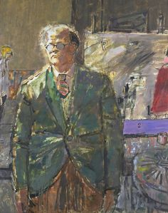 Carel Weight and Ruskin Spear both taught at the Royal College of Art, where this portrait was painted. A painting by David Hockney, who was then one of Weight's pupils, rests on an easel in the background. Tate Gallery, Royal Academy Of Arts, Digital Museum, Irish Art, Royal College Of Art, Painting Studio, National Portrait Gallery, Collaborative Art, Cool Artwork
