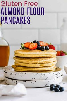 Easy Gluten Free Almond Flour Pancakes - the ultimate weekend breakfast, these are light and fluffy and slightly sweet. Perfect with a drizzle of maple syrup and all of your favorite toppings. Great to make ahead and even freeze to enjoy all week long! Make Almond Flour, Almond Flour Pancakes, Gluten Free Pancakes, Gluten Free Flour, Slow Cooker Breakfast, Breakfast Casserole, Kale Chip Recipes, Hazelnut Butter, Yogurt Breakfast