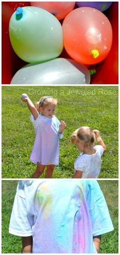 Have a water balloon paint war for some SUPER Summer Fun! Filling the balloons with paint is easy, and you can even make your own liquid paint using just two ingredients! Wear white shirts- whoever is the least covered wins! (Fun for the whole family)