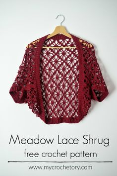Knitting Patterns Lace Meadow Lace Shrug - floral and stylish crochet shrug free pattern with zero shaping, decreasing or i.Meadow Lace Shrug - Motif floral et élégant au crochet sans hampe avec .Individuals seek for: shrugs for evening wear! Crochet Jacket, Crochet Cardigan, Crochet Shawl, Crochet Shrugs, Crochet Sweaters, Crochet Cape, Knit Shrug, Lace Cardigan, Lace Scarf