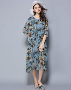 #AdoreWe #VIPme (VIPSHOP Global) Womens - LETDIOSTO Blue 3/4 Length Dress - AdoreWe.com