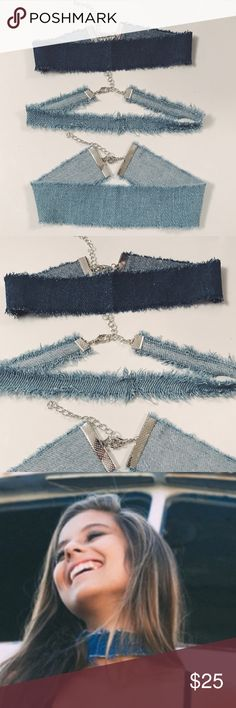 Denim Choker Bundle Gorgeous   ••• 3 Pieces: NWT denim jeans frayed distressed chokers. Light wash and dark wash blue in color. Can be adjusted with extension. Stylish and trendy look as seen on KIM K! •••  ✨ Check out my closet for more cute items!  I ALWAYS DISCOUNT BUNDLES!  ✨ Brands in my closet include: H&M, Forever 21, Victoria's secret pink, Nike, Urban Outfitters, Pacsun, LF, Brandy Melville, topshop, Free People, hollister, american eagle, etc! :) Nasty Gal Jewelry Necklaces