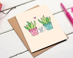 Send this cute and funny 'You had me at Aloe' card to your boyfriend, girlfriend, husband or wife on their birthday, anniversary, valentines day or just to tell them you love them. It's a gorgeously funny card and they'll love it. Who can resist two succulents in love, aww!  The card has been left blank inside for you to write your own little message.  Each card is beautifully printed on 300gsm white card. It's packaged with a recycled Kraft envelope in a clear cello bag and then popped in a…