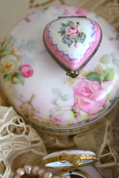 vintage glass heart trinket box vanity or candy bowl large hand painted roses