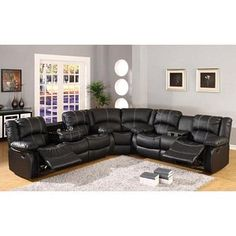 Contemporary Black Leather Reclining Sofa Sectional Drop Down Table