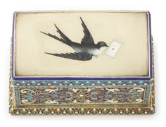 Russian silver-gilt, cloisonné and pictorial enamel stamp box, Moscow, 1890