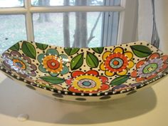 Odd Long Dish W/ Multi Color Flower Design by shannondesigns