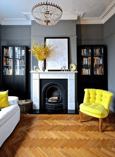 Bookroom in Plummett by Farrow and Ball. Fab yellow chair from Oliver Bonas. Bookroom in Plummett by Farrow and Ball. Fab yellow chair from Oliver Bonas. Decorating Living Room Ideas, Living Room Designs, Decorating Websites, Decorating Tips, Living Room Grey, Home Living Room, Bright Living Room Decor, Cozy Living, Style At Home