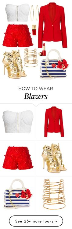 """""""Fashion Red/Gold Beach Summer 2016"""" by diamondanna on Polyvore featuring Giamba, Rebecca Taylor, Brooks Brothers, Giuseppe Zanotti, Etienne Deroeux, Estée Lauder, NLY Trend and Yves Saint Laurent"""