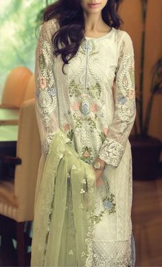 Buy Latest White Embroidered Chiffon Winter Dress by Maria B.