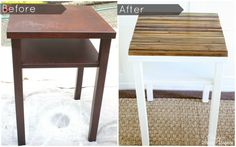 Upcycled Side Table Before and After