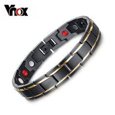 Vnox nero uomo bracciali e braccialetti di salute magnetica h potenza bracciale in acciaio inossidabile fascino gioielli per uomo