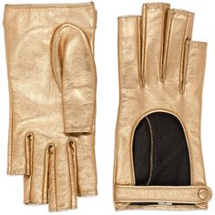 Gucci Metallic Leather Fingerless Gloves (€475) ❤ liked on Polyvore featuring accessories, gloves, gold, gucci, gold metallic gloves, gucci gloves, fingerless gloves and fingerless leather gloves