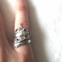 Vintage spoon ring, so lovely Size 4 but can be adjusted. This vintage spoon ring is a beauty. It's heavy and well made. I cannot read the engraving on the inside of the ring. I've had this for many years and bought from a vintage jeweler. Vintage Jewelry Rings