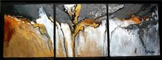 Mother Lode, original acrylic abstract triptych -- Carol Nelson