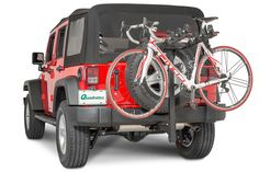"""The Quadratec Folding Receiver Hitch 4 Bike Rack is designed to clear the rear spare tire without the need of a hitch extension and work with any 2"""" receiver. The handy tilt back feature allows the tailgate and liftgate to open for easy access to your cargo area without having to remove the rack."""