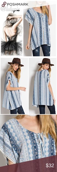 """☀️SALE☀️Ocean Blue Country Tunic Beautiful prints of pastel blue and white tunic top with crochet details running down in the middle and sleeves. Front tie at the neckline. Made of Poly/ spandex blend.   Measurements  Small Bust 40""""/ length 29""""  Medium  Bust 42""""/ length 29.5""""  Large  Bust 44""""/ Length 30""""  NO TRADES Bchic Tops Tunics"""