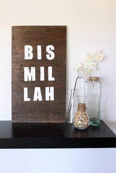 living room decor, islam, islamic, muslim, art design, handmade, wood, bismillah, Allah