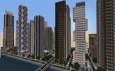 Downtown New Crafton (Finished) Minecraft Map Minecraft Modern City, Minecraft Skyscraper, Minecraft City Buildings, Minecraft Structures, Cute Minecraft Houses, Minecraft Houses Blueprints, Minecraft Plans, Minecraft Tutorial, Minecraft Architecture