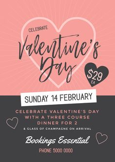 Valentine's Day Template - DIY Valentine's Day Posters and Flyers. Create awesome Valentine's Day Promotions with Easil.  Drag, Drop, Designed!