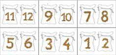 Zakken met pepernoot cijfers tm 12, om bijv. de getallenrij te oefenen. 12 Kaartjes van maken en lamineren.