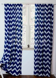 """Chevron- ONE panel - 44""""w x 84"""", 108""""L - Indigo Hand Block Printed with Natural dyes Cotton Window Curtain Window Treatment *ON Sale* by Ichcha on Etsy https://www.etsy.com/listing/190988345/chevron-one-panel-44w-x-84-108l-indigo"""