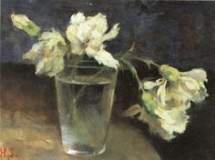 Helene Schjerfbeck , Carnations in a glass of water