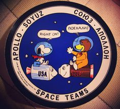 "Apollo-Soyuz test project : ""SPACE TEAMS"" patch with NASA's snoopy and the Russia Soyuz Bear 