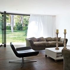 Curtains for Bifold doors Wave Curtains, Voile Curtains, Curtains With Blinds, Sliding Glass Door, Sliding Doors, Curtains For Bifold Doors, Bedroom Doors, Ideal Home, Family Room