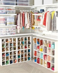 Shoe Organizer - Store shoes like loafers and low-heeled sandals in pairs in the individual compartments. The Container Store Master Closet, Closet Bedroom, Walk In Closet, Bathroom Closet, Front Closet, Entryway Closet, Walking Closet Ideas, Apartment Closet Organization, Shoe Organizer For Closet