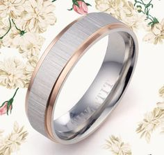 Men Women Rose Gold Silver Filled Two Tone Wedding Titanium Ring GMUS082 Z2 in Jewelry & Watches,Men's Jewelry,Rings | eBay