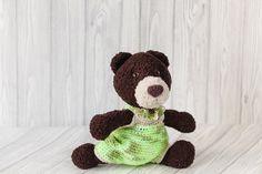 Cute teddy bear Quentin - soft toy. Teddy bear in green overalls, fluffy wool dark brown color. Plush #animal #knit in style amigurumi. #Handmade toy made by hand crochet. Bea... #etsy #crochet #toy #handmade #gift ➡️ https://www.etsy.com/kedrtoy/listing/461304400/cute-brown-bear-soft-knit-teddy-bear?utm_campaign=products&utm_content=6b1de9df27af4a60a9c7a93bea1463c6&utm_medium=pinterest&utm_source=sellertools