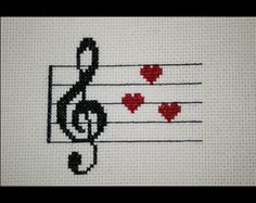 Treble and Bass Clef Heart Cross Stitch by BlueTopazStitchery